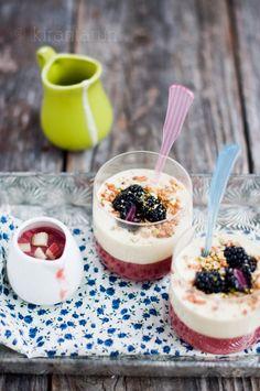 Rhubarb & Coconut Custard Verrines / KiranTarun.com