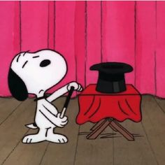 Snoopy doing a magic trick | Pinned by Tara Blais Davison
