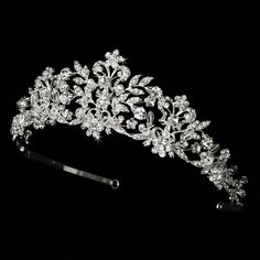 Swarovski Crystal and White Pearl Bridal Tiara