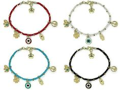 Gorgeous Braided Cord & 18K Gold Plated Charms 'n Beads Bracelet with Extender + Be Happy Charm, in Choice of Red, White, Sky Blue and Black