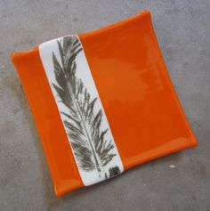 Fused+Glass+Plate+Glass+Home+Decor+Orange+Glass+by+mediumstomasses,+$36.00