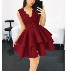 V neck Lace Lovely Short Girls Homecoming Dress 2018 Graduation Semi Formal Cocktail Party Dress Dusty Pink Bridesmaid Dresses, Hoco Dresses, Party Dresses For Women, Homecoming Dresses, Evening Dresses, Formal Dresses, Mini Dresses, Cocktail Dresses With Sleeves, V Neck Cocktail Dress