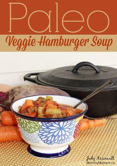 Paleo Veggie Hamburger Soup. Nightshade Free. #Paleo #FallRecipe #soup