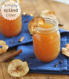 Simply Spike Cider with Oven Baked Apple Crisps. Me: This will be our pre-Thanksgiving cocktail this year!