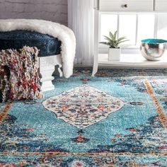 Shop for nuLOOM Traditional Distressed Medallion Aqua Rug (5'3 x 7'7). Get free shipping at Overstock.com - Your Online Home Decor Outlet Store! Get 5% in rewards with Club O!