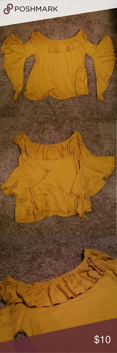 Blushing heart ruffle yellow blouse. New never used, 95% rayon 5% spandex. blushing heart Tops Blouses