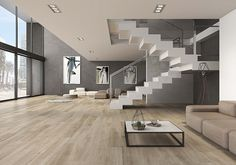 Greenwich Taupe Spanish Timber Look Porcelain Tile ( - Tile Factory Outlet Pty Ltd Glass Stairs, Buy Tile, Steel Stairs, Spanish Tile, Wood Look Tile, Tiles Online, Porcelain Tile, Living Room Designs, Home Improvement