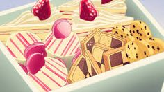 Those Cookies That Just Seem to Pop Up in Every Anime Series Ever: Checkerboard Icebox Cookies! Think Food, I Love Food, Cute Food, Yummy Food, Doki Doki Anime, Yumeiro Patissiere, Anime Bento, Icebox Cookies, Anime Gifs