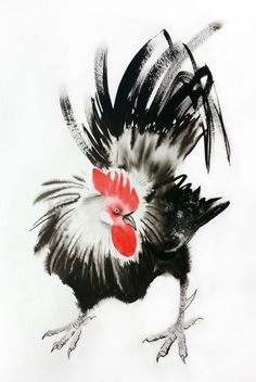 Rooster - Rooster Year - 2017 Chinese New Year of the Rooster – Watercolor – Ink - Rooster Chinese Painting - Image 0
