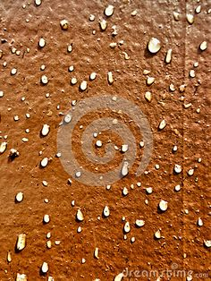 Photo about A close-up view of raindrops on brown painted wood. Image of wooden, wood, textures - 67377692