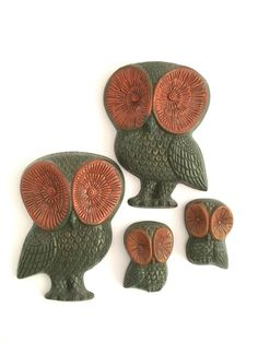 Vintage Owl Family Wall Decor Owlets Retro 60s by PoolhausVintage