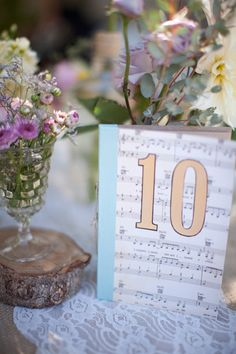 Love this centerpiece idea. I'd like to use sheet music from our wedding.