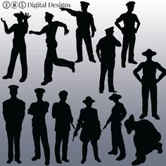 12 Police Silhouette Clipart Images Clipart by OMGDIGITALDESIGNS