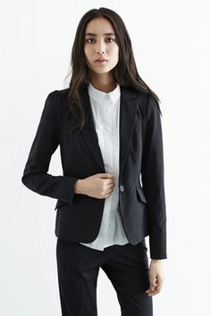 This smart work wear jacket features an all-over pinstripe design, tailored fit, single button closure and two pockets. Length of jacket, from shoulder seam to hem, 61cm approx. Height of model shown: 5ft 10 inches/178cm. Model wears: UK size 10.