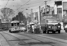 都電板橋区役所前停留所の光景(昭和40年)