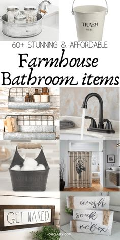 60 Modern Farmhouse Bathroom Decor Ideas On A Small Budget. Brilliant farmhouse bathroom accessories from soap dispenser to towel bars and wire baskets these shabby chic ideas are guaranteed to transform your french country style bathroom! Farmhouse Bathroom Accessories, Country Style Bathrooms, Modern Farmhouse Bathroom, Chic Bathrooms, Diy Bathroom Decor, Bathroom Styling, Funny Bathroom, Bathroom Wall, Bathroom Storage
