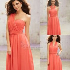 Couleur corail robes De demoiselle Six Styles chérie robes De Festa Longo…