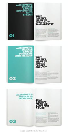 Alzheimer's Australia. two color. alternate page headline. #print #book