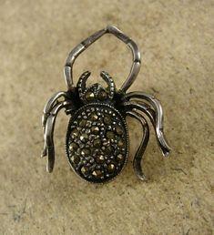 Vintage Sterling SPIDER Brooch Pendant by vintagesparkles on Etsy, $110.00
