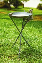 """Curious Cat & Bird Birdbath - Playing a fun cat and mouse game are two visitors superbly crafted in aluminum. On a sturdy three-point stand. 24 1/2""""H, 16 1/2""""W, 13 1/2""""D."""