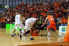 Sharks player Reuben Te Rangi wasn't about to let go of that ball.  2nd home game - Southland Sharks v Wellington Saints at Stadium Southland.  April 28th, 2013.  Sharks 75-83 Saints.  See our website for the story.