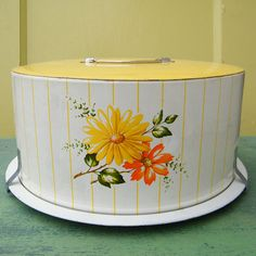 Vintage Cake Carrier Tin with Yellow and Orange by GloryBDesign. I have this exact one ♡♡♡