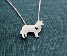 Border Collie necklace tiny sterling silver hand cut pendant with heart tiny dog breed jewelry (45.00 USD) by JustPlainSimple
