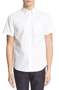 ACNE STUDIOS Trim Fit Short Sleeve Oxford Shirt. #acnestudios #cloth #