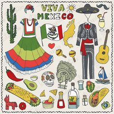 Some pictures of hot Mexico!  Doodle set with Mexican food, fashion and cactus)) Workshop from hand drawing to vetor : pen-scanner-photoshop-treysing-Illustrator.  You can then use stickers,scrapbooking,overlay and other beauty. On the insert menu, or in the blog, printing.  One word: Viva Mexico! #vectorillustration #mexico #travel #doodeicon #latino #mexicanmusic #foodgraphic #nachos #food #latinoamerica #mexicanculture #doodle #handdrawn