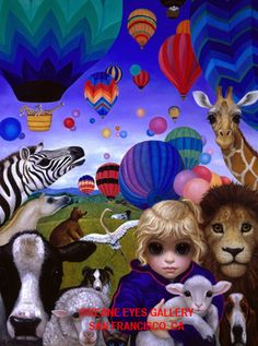 """Personally Signed Margaret Keane Canvas Who Said Animals Don'T Fly """" 