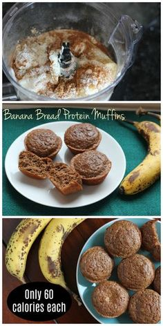 Protein Banana Muffins At just 60 calories each, these banana bread protein muffins are a perfect low calorie snack!At just 60 calories each, these banana bread protein muffins are a perfect low calorie snack! Desserts Pauvres En Calories, Low Calorie Desserts, No Calorie Foods, Low Calorie Recipes, Low Calorie Baking, Low Calorie Snacks Sweet, Low Calorie Lunches, Low Calorie Cake, Diet Foods