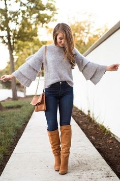 ruffle sleeve grey sweater, skinny jeans and tan heeled boots - the perfect fall outfit | fall fashion tips | fall outfit ideas | outfit ideas for fall | style tips for fall | fall style ideas || A Lonestar State of Southern