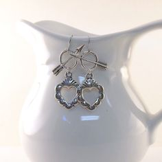 Silver Heart With Arrow Earrings by CinLynnBoutique on Etsy, $22.00