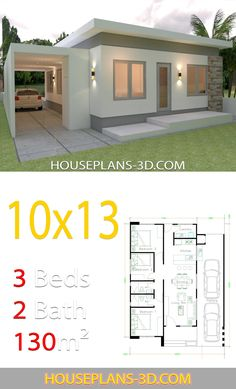 House Plan Discover House Design with 3 Bedrooms Full Plans - House Plans House Design with 3 Bedrooms Full PlansThe House has:-Car Parking and garden-Living room-Dining Bedrooms 2 bathroom 3d House Plans, Model House Plan, House Layout Plans, Home Design Floor Plans, Dream House Plans, Small House Plans, House Layouts, Dream Houses, Three Bedroom House Plan
