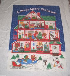 Vintage A BEARY MERRY CHRISTMAS Fabric Panel VIP Cranston - No Bear or Calendar #VIPCranston