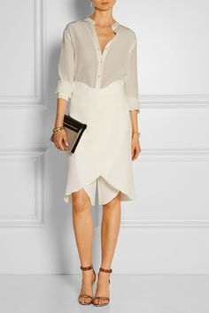 Agnona|Layered double-faced wool-crepe shorts|NET-A-PORTER.COM $1395 Ivory wool-crepe Concealed hook and zip fastening at side 100% wool Dry clean