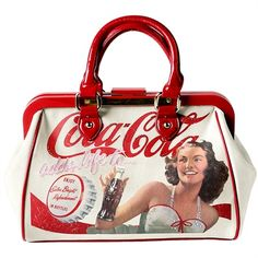 signed Fixdesign -- this Doctor style bag is made of fabric printed with an old advertising image of Coca Cola