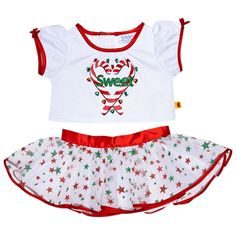 Candy Cane Skirt Outfit 2 pc.  Teddy bear size outfit includes white tee with SWEET candy cane graphic and star print skirt.