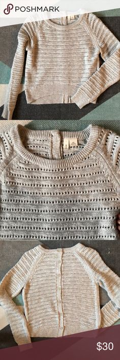 Anthropologie moth cropped sweater Cream sweater. Open weave. Cropped front with button back. Crew neck . Bust 18 inches. Front length 15 inches, back length 19 inches. Anthropologie Sweaters Crew & Scoop Necks