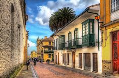 A street in downtown Bogota in the La Candelaria neighborhood. This is calle just west of Carrera A block down the street is the Plaza de Bolivar. Wonderful Places, Beautiful Places, Colombian Cities, Hotel Boutique, Colombia Travel, All Inclusive Vacations, Travel Information, South America, Places To See