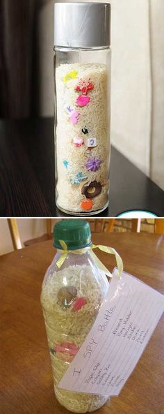Make a really easy and fun I-Spy Bottle to keep your kids entertained while road trips and travel.