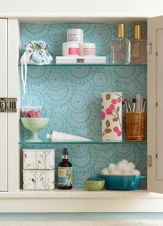 DIY: paper the interior of your medicine cabinet