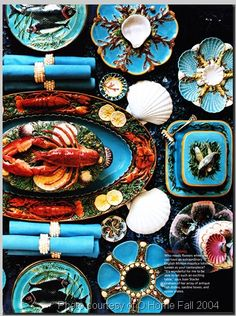 Minton Seafood Server, Tray. Sardine Box. Oyster Plates. Late 19th Century.          @TheDailyBasics  ♥♥♥