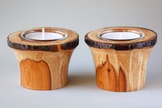 Natural edged Yew pair of tea lights/ candle by MHWoodcraft