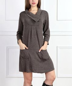 Look what I found on #zulily! Brown Ruched Cowl Neck Shift Dress #zulilyfinds