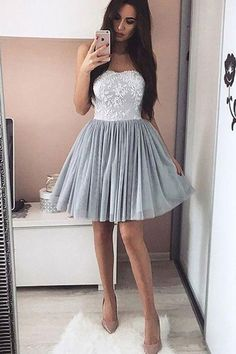 Short Prom Dresses #ShortPromDresses, Lace Prom Dresses #LacePromDresses, Grey Prom Dresses #GreyPromDresses