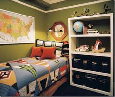 Boy bedroom - I like the green and the map on the wall.
