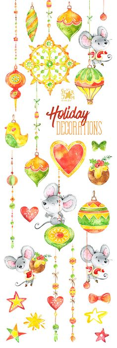 Holiday Decorations. Christmas Watercolor clipart mouses