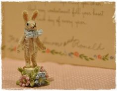 Pipe Cleaner Flower Bunny vintage style