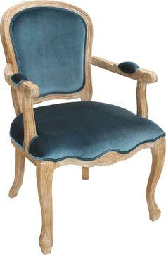 OnLine Atelier - Loja Virtual - arte - decoração - design -  Poltrona Clássica ref 001033, em madeira de carvalho, acabamento em pintura estilo vintage,  estofada com tecido  de veludo azul liso. Disponíveis para Pronta - (54) 9165-9726 - onlineatelier@hotmail.com Armchairs, Dining Chairs, Furniture, Design, Home Decor, Blue Velvet, Wing Chairs, Top Coat, Tejido